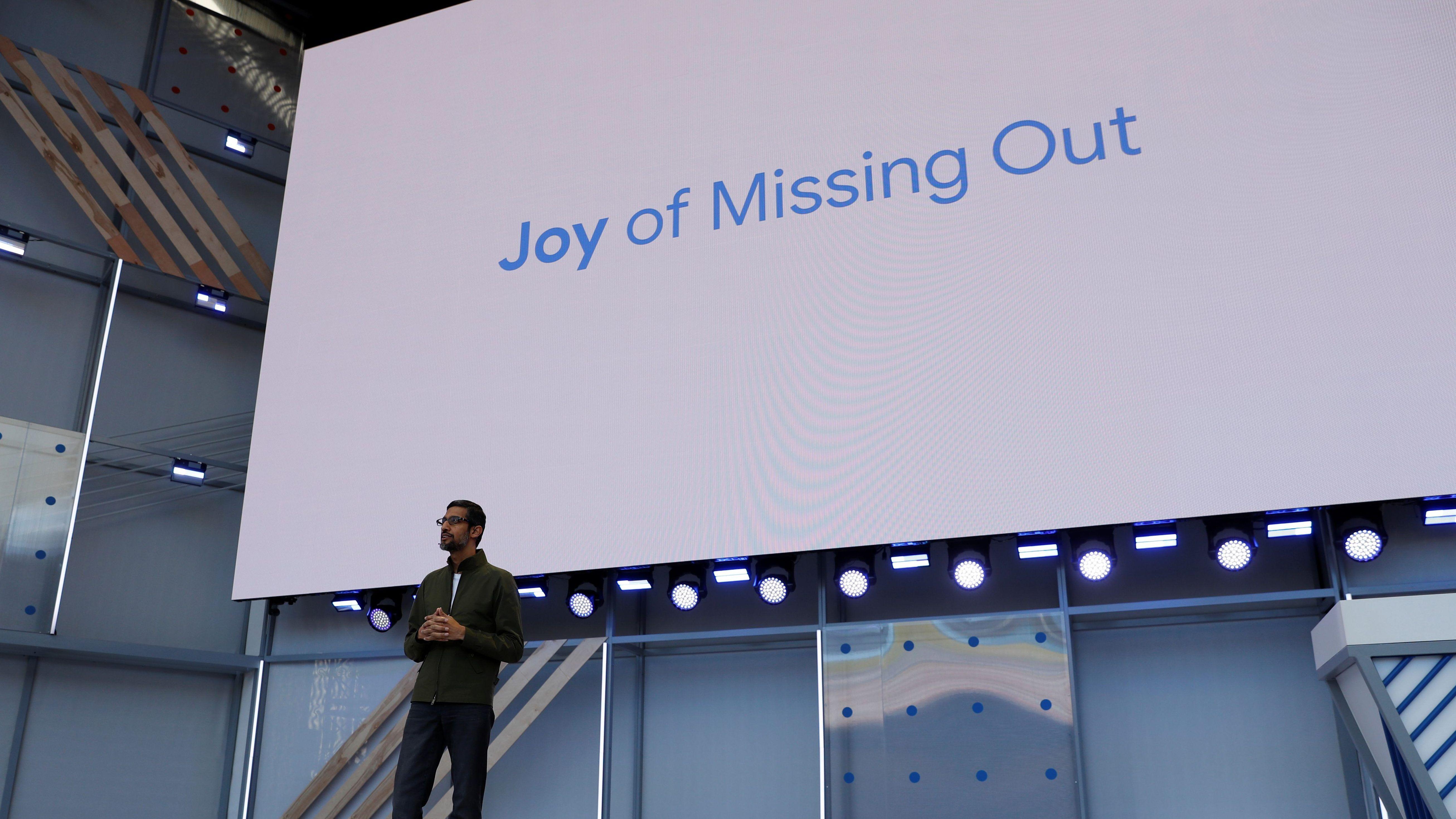 Le PDG de Google, Sundar Pichai, prend la parole lors de la conférence annuelle des développeurs d'E / S de Google à Mountain View, en Californie, le 8 mai 2018. REUTERS / Stephen Lam - RC1429AA3000