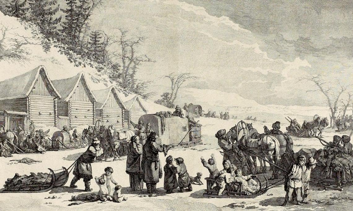 «Traineaux de Russie pour voyager pendant l'hiver et transporter les denrées », gravure, Jean-Baptiste Le Prince, 1764 - source : Gallica-BnF