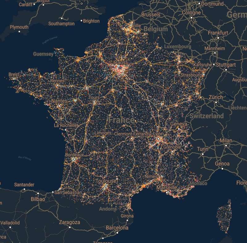 Les 50.000 antennes-relais permettent de géolocaliser les abonnés à la téléphonie mobile et donc leurs déplacements. © data.gouv.fr