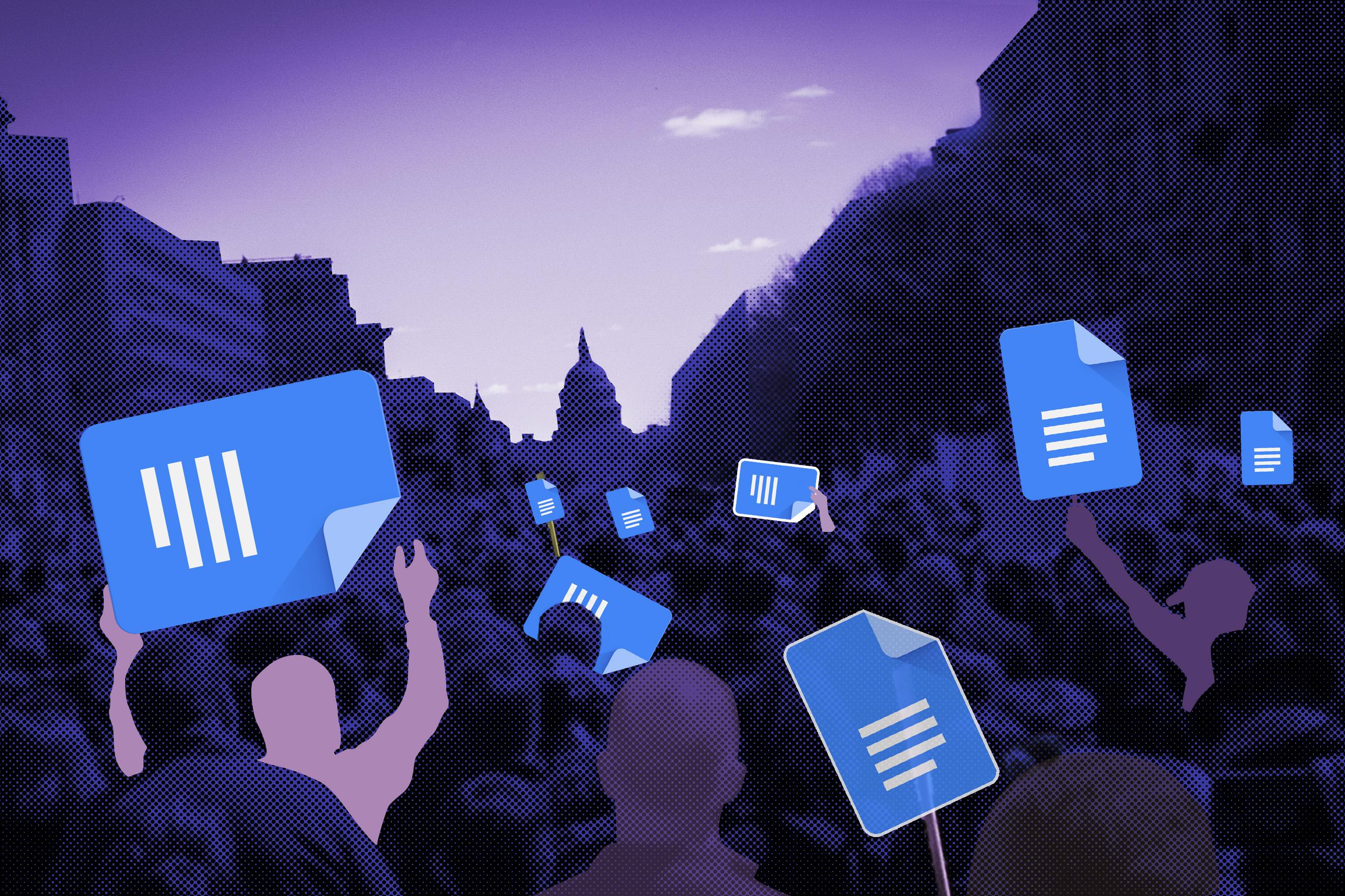 illustration des foules tenant des pancartes Gdoc